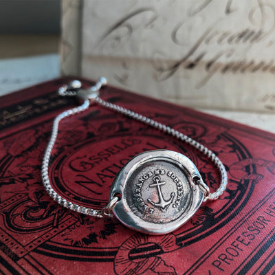 Anchor - Adjustable Wax Seal Bracelet-Shannon Westmeyer Jewelry