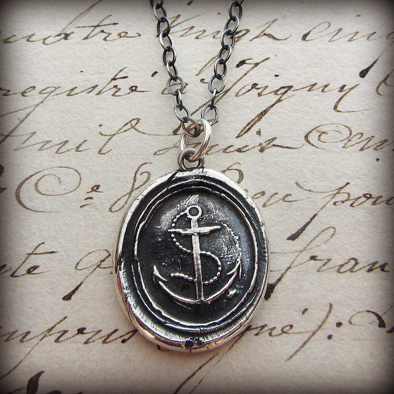 Nautical Anchor Wax Seal Necklace - Shannon Westmeyer Jewelry - 3