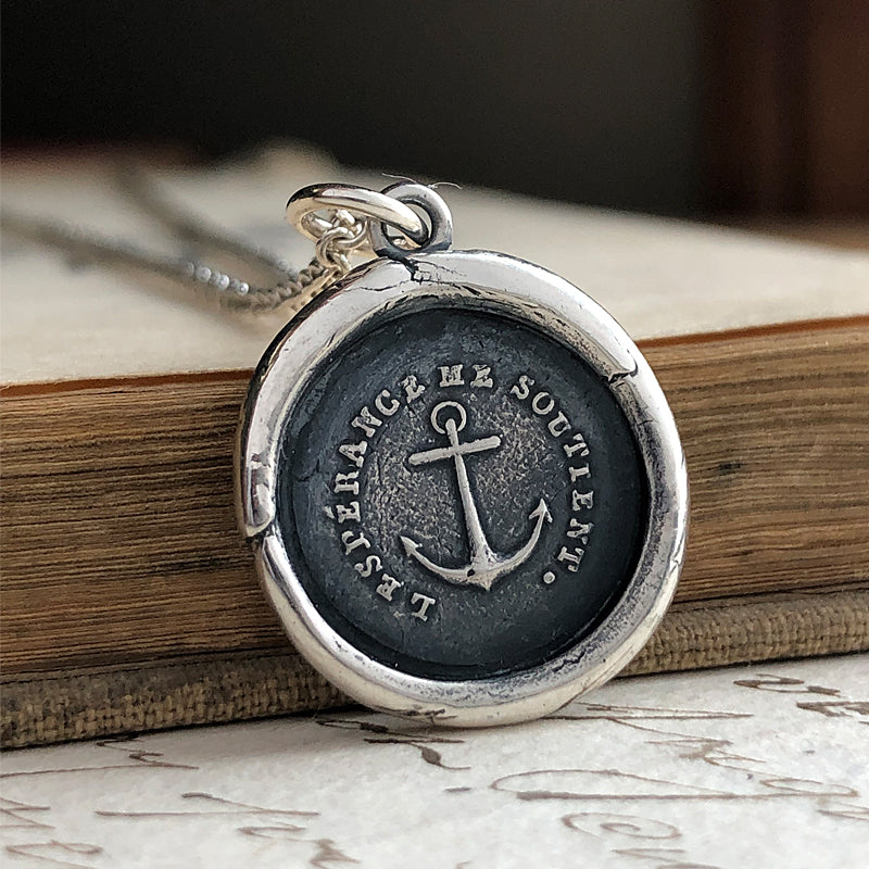 Hope Sustains Me Anchor Wax Seal Charm Necklace