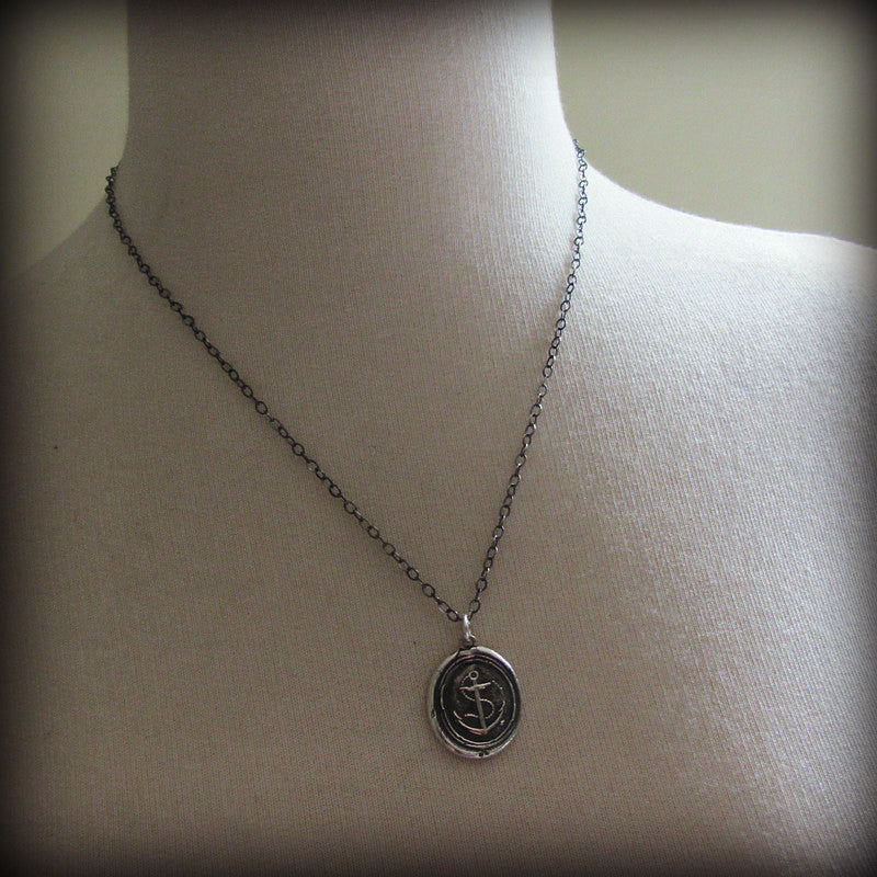 Nautical Anchor Wax Seal Necklace - Shannon Westmeyer Jewelry - 4