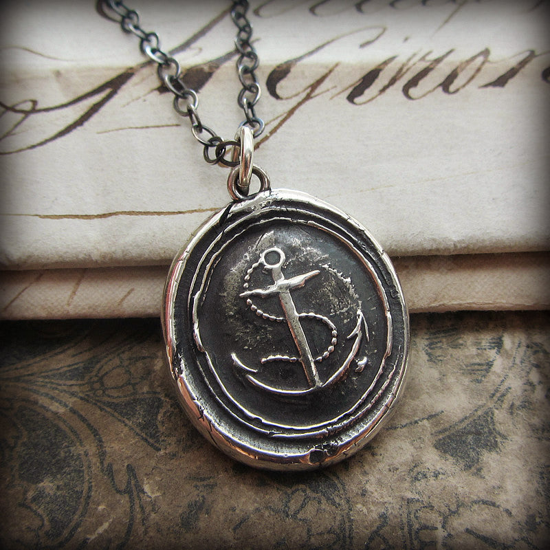 Nautical Anchor Wax Seal Necklace - Shannon Westmeyer Jewelry - 1