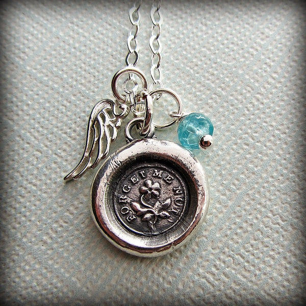 Lost Child Memorial Necklace - Forget Me Not Keepsake - Shannon Westmeyer Jewelry - 1