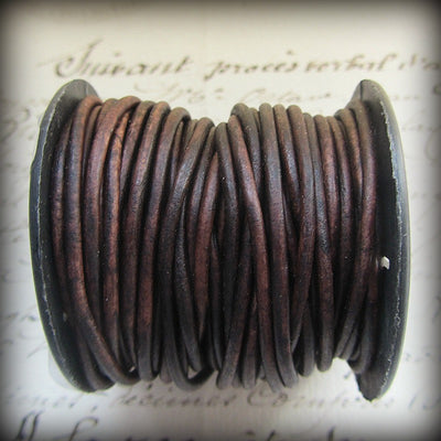 Leather Cord Necklace with Sterling Swivel Clasp - Distressed Dark Brown - Shannon Westmeyer Jewelry - 4