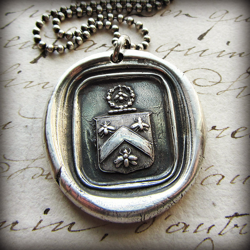 Bee Wax Seal Crest Necklace - Shannon Westmeyer Jewelry - 3