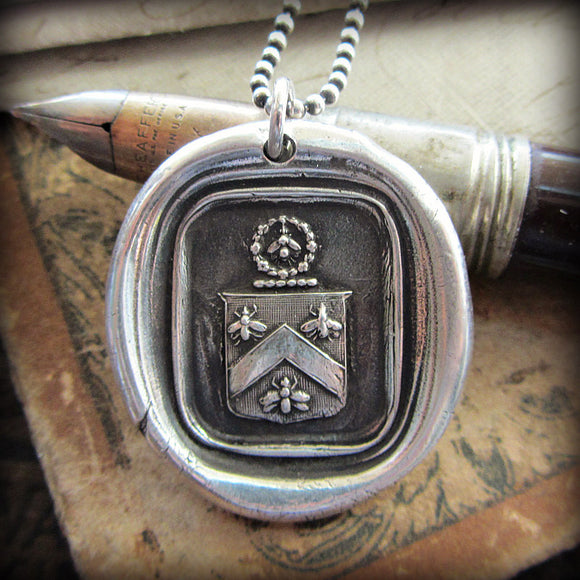 Bee Wax Seal Crest Necklace