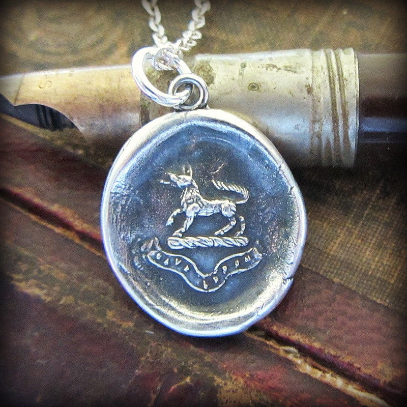 Wolf Wax Seal Pendant Necklace - Valor and Guardianship - Beware of the Wolf - Shannon Westmeyer Jewelry - 4