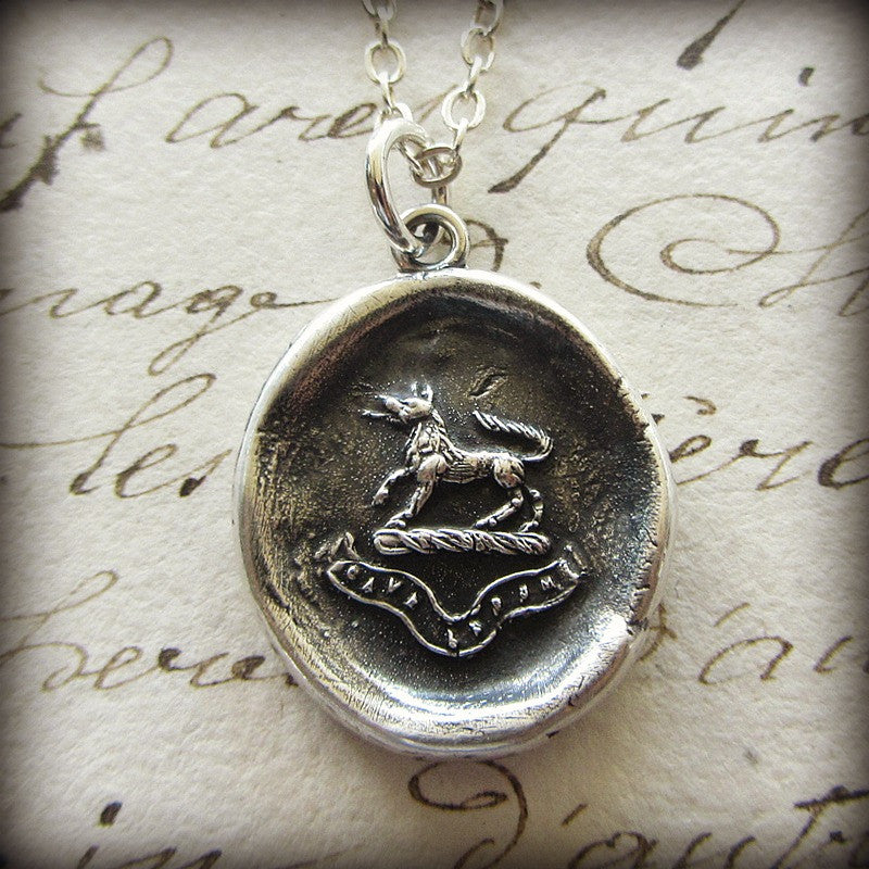 Wolf Wax Seal Pendant Necklace - Valor and Guardianship - Beware of the Wolf - Shannon Westmeyer Jewelry - 2