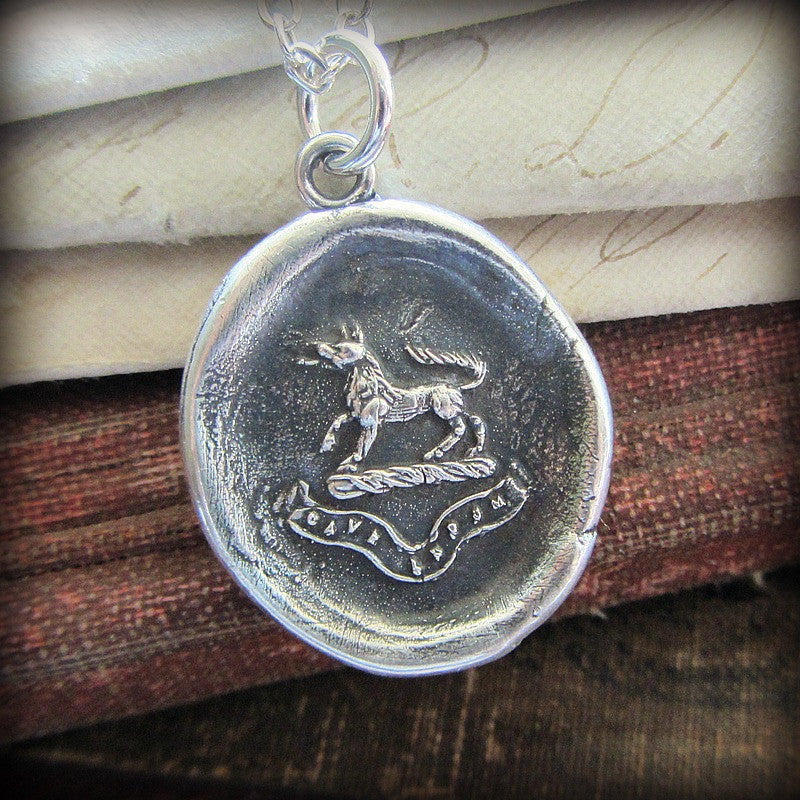 Wolf Wax Seal Pendant Necklace - Valor and Guardianship - Beware of the Wolf