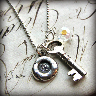 The Future is Bright - Personalized Initial Necklace - Vintage Reclaimed Swarovski Crystal - Shannon Westmeyer Jewelry - 1