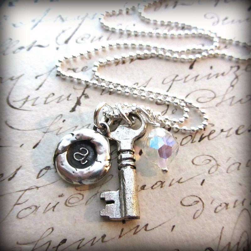 The Future is Bright - Personalized Initial Necklace - Vintage Reclaimed Swarovski Crystal - Shannon Westmeyer Jewelry - 2