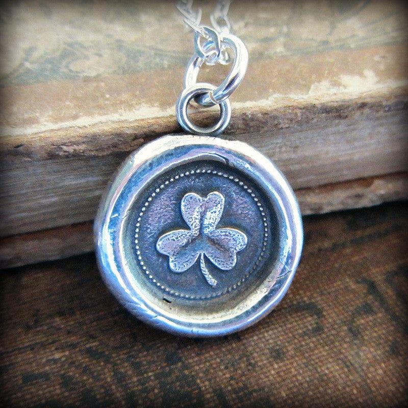 Shamrock Wax Seal Necklace - Faith, Love & Hope