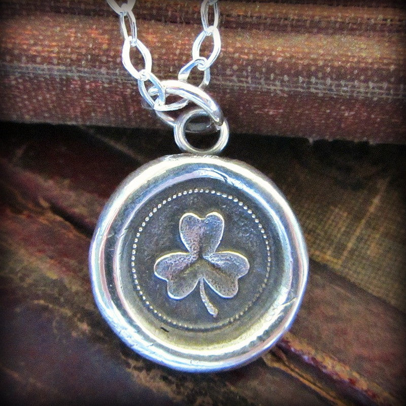 Shamrock Wax Seal Necklace - Faith, Love & Hope - Shannon Westmeyer Jewelry - 1