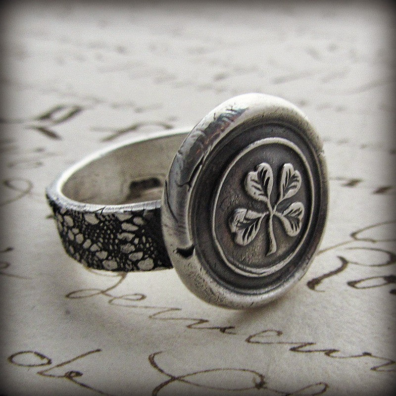 Four Leaf Clover Wax Seal Ring - Shannon Westmeyer Jewelry - 2