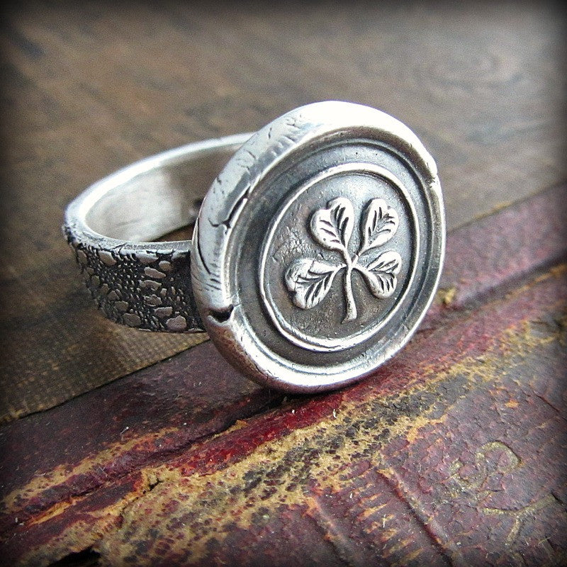 Four Leaf Clover Wax Seal Ring - Shannon Westmeyer Jewelry - 3