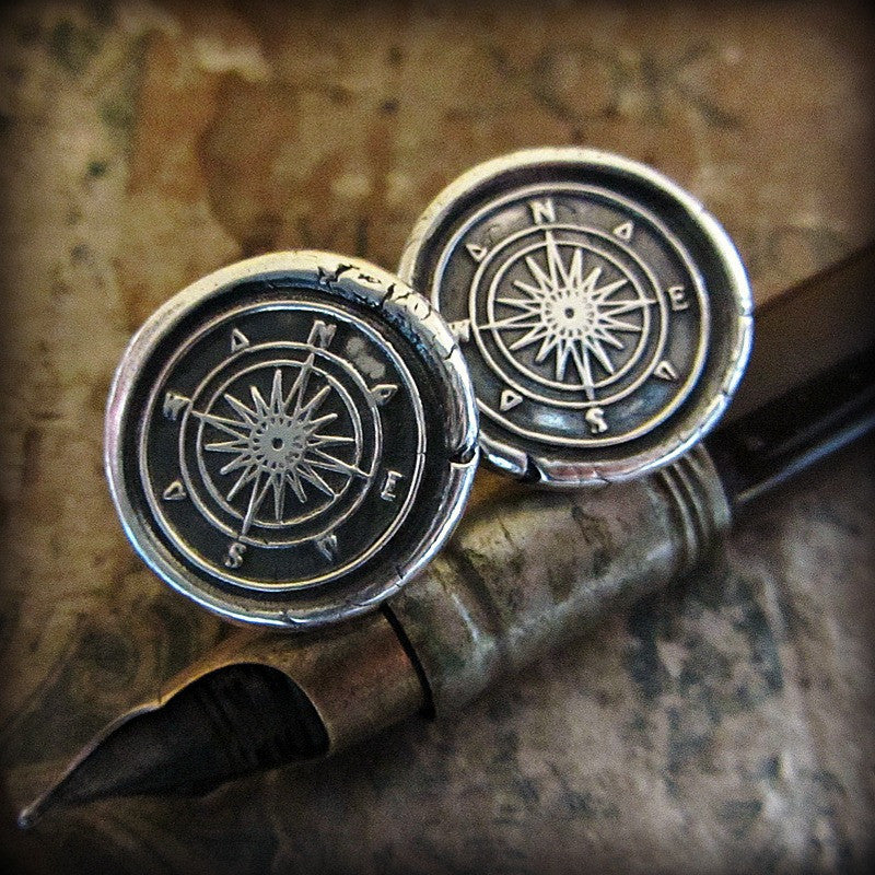 Compass Wax Seal Silver Cuff Links