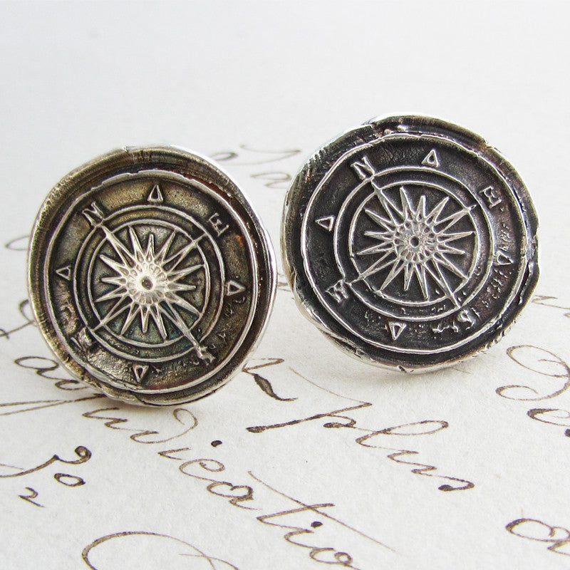 Compass Wax Seal earrings on old english script