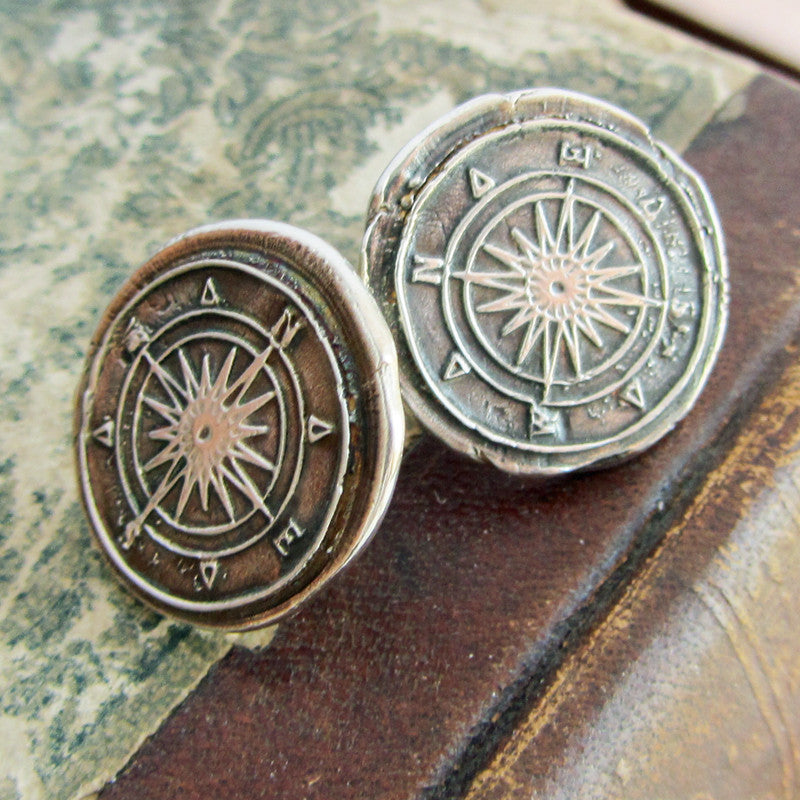 Compass Wax Seal Post Earrings - Shannon Westmeyer Jewelry - 4