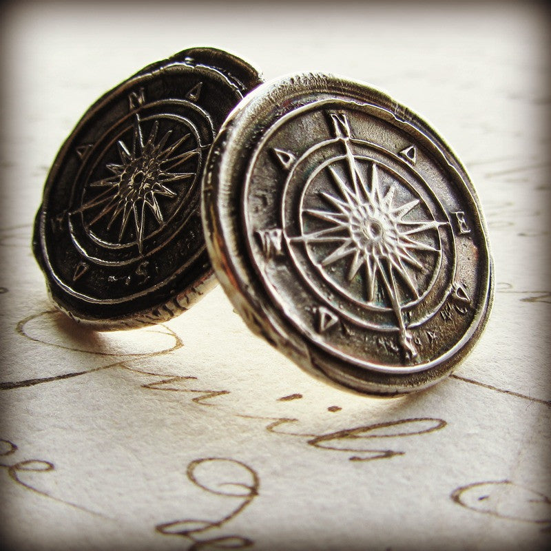 Compass Wax Seal Post Earrings - Shannon Westmeyer Jewelry - 1