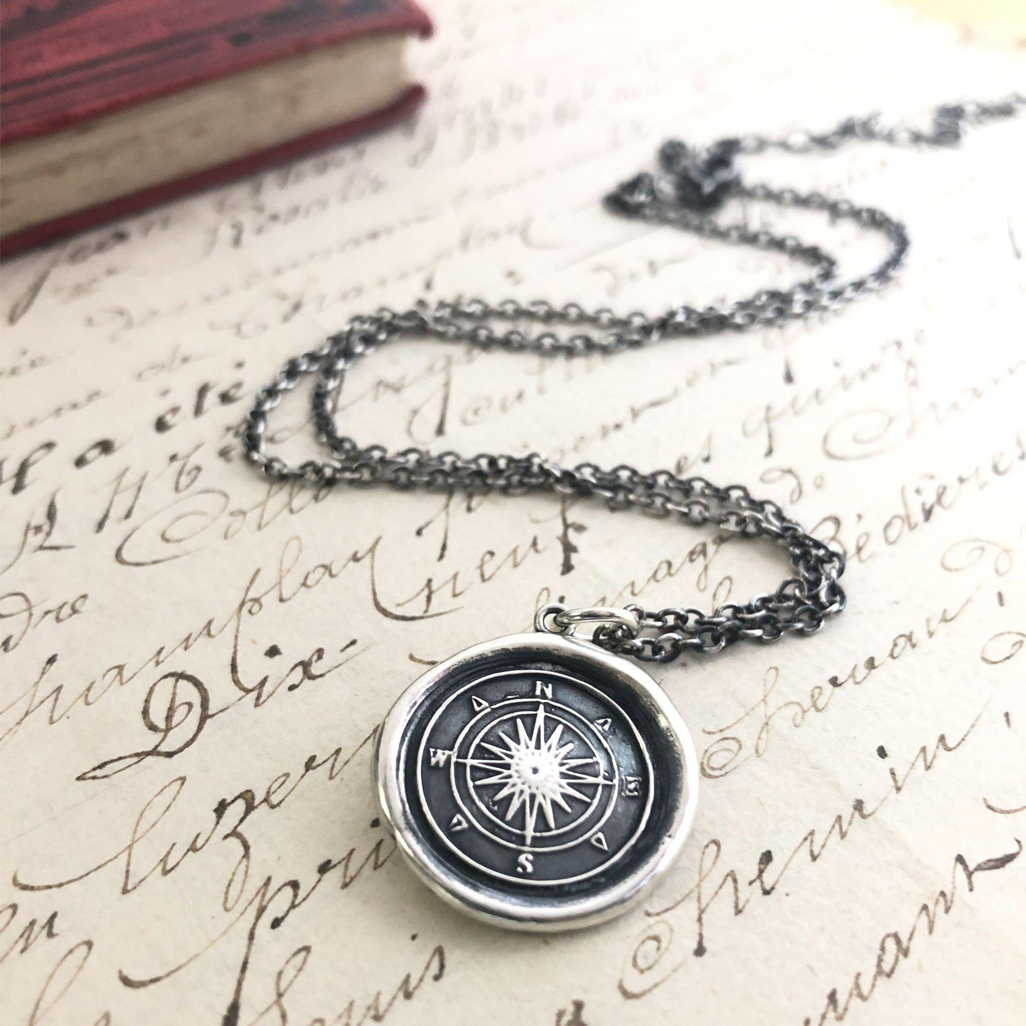 Compass Wax Seal Charm Pendant - Guidance & Direction