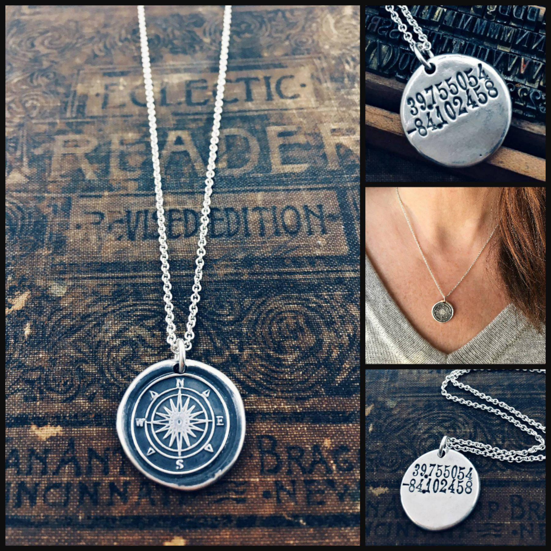 Compass Coordinates Wax Seal Necklace