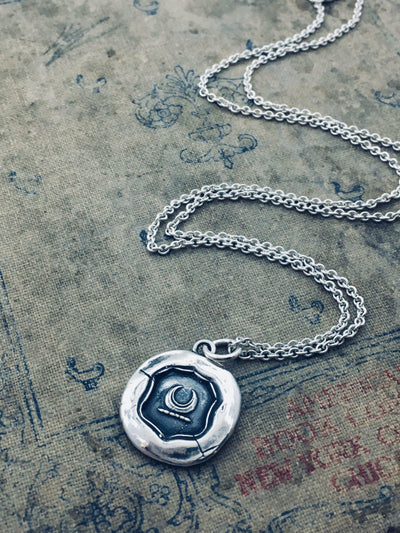Silver Crescent Moon Wax Seal Necklace-Shannon Westmeyer Jewelry