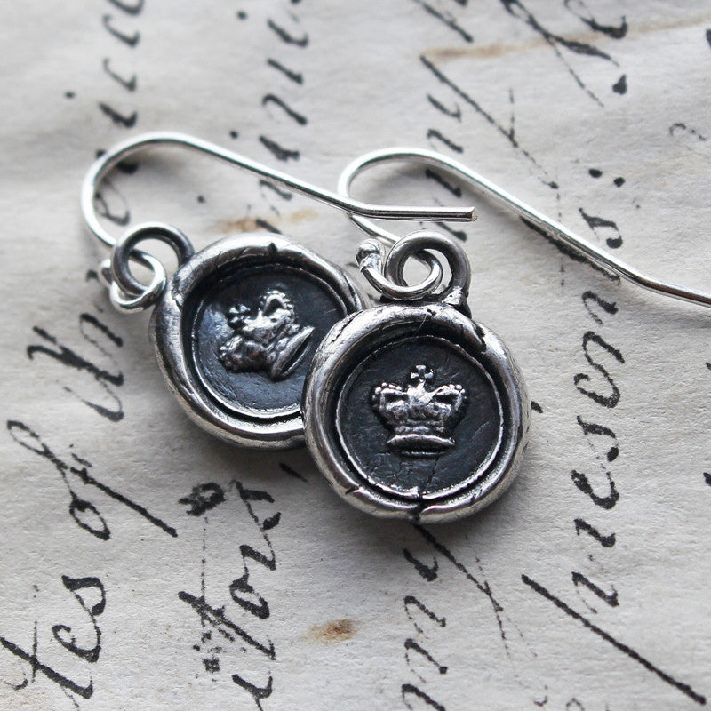 Tiny Crown Wax Seal Dangle Earrings - Shannon Westmeyer Jewelry - 2