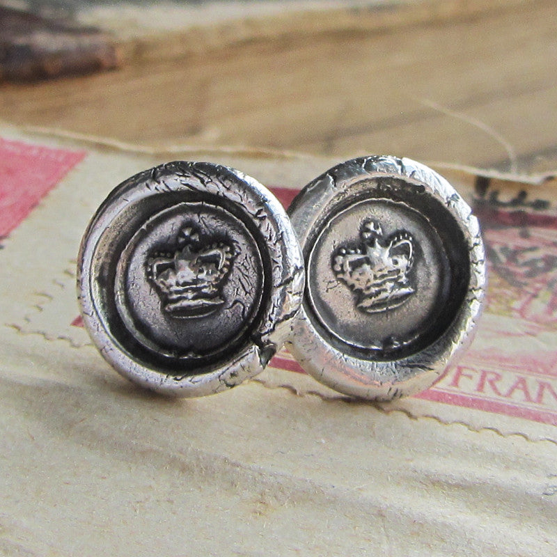Tiny Crown Wax Seal Earrings - Shannon Westmeyer Jewelry - 2