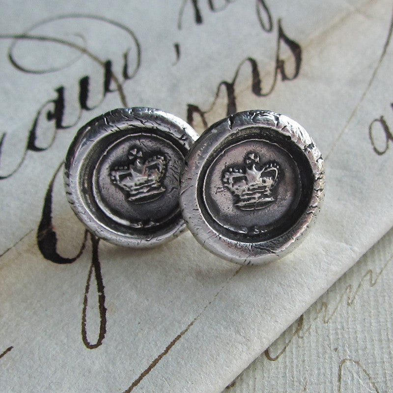 Tiny Crown Wax Seal Earrings - Shannon Westmeyer Jewelry - 3