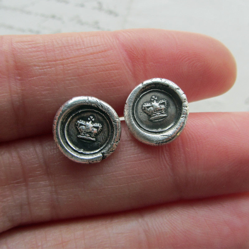 Tiny Crown Wax Seal Earrings - Shannon Westmeyer Jewelry - 5
