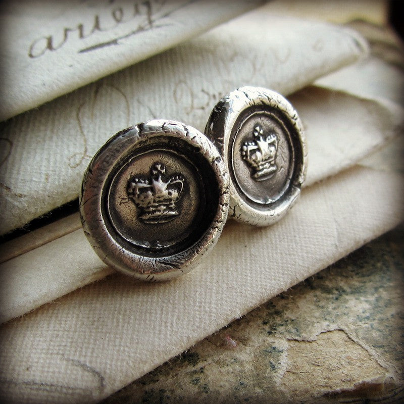Tiny Crown Wax Seal Earrings - Shannon Westmeyer Jewelry - 1