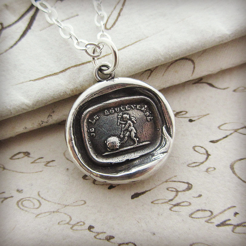 Love turns everything upside Down cupid wax seal necklace.