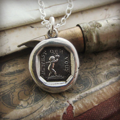 Cupid Wax Seal Necklace - Romantic Jewelry