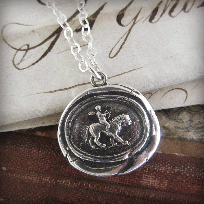 Cupid atop a Lion Wax Seal Necklace
