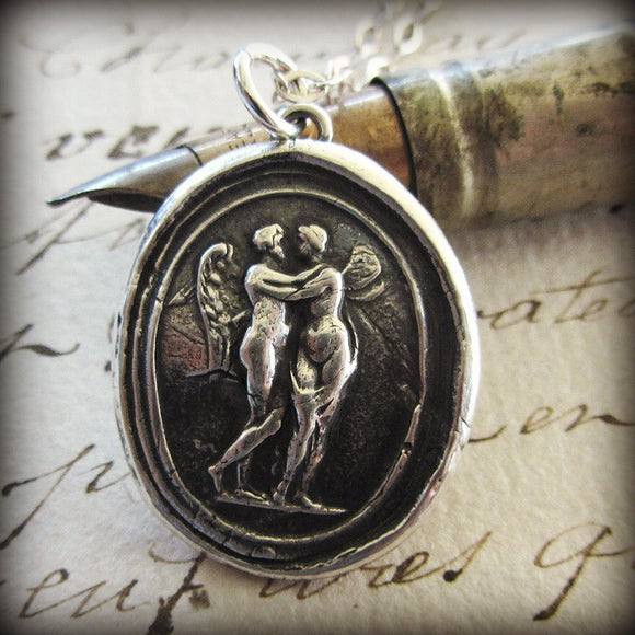Cupid and Psyche Wax Seal Necklace - Love Overcomes Anything - Shannon Westmeyer Jewelry - 1