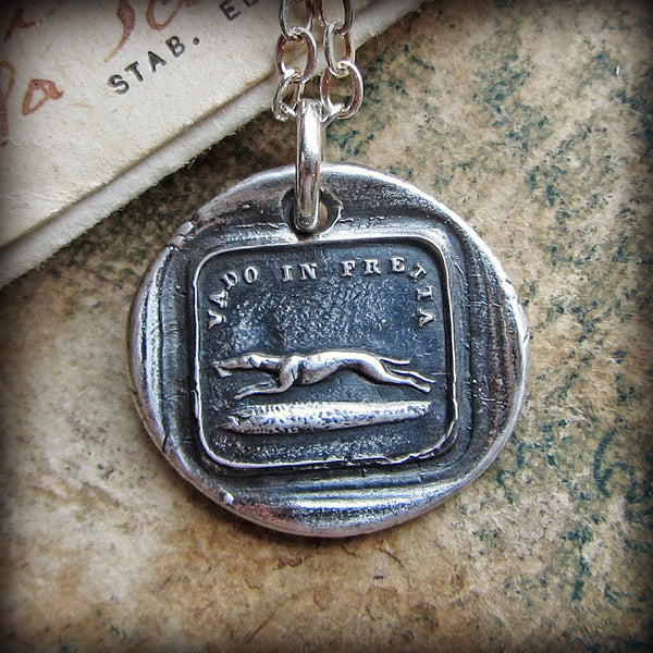 Greyhound Italian Wax Seal - I Go Fast - Shannon Westmeyer Jewelry - 1