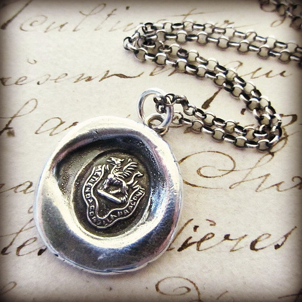 Dragon Heraldic Crest Necklace - Fear the Dragon - Protection - Shannon Westmeyer Jewelry - 1