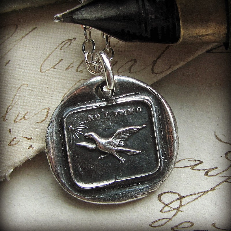 Have no fear eagle wax seal necklace with fine tipped pen