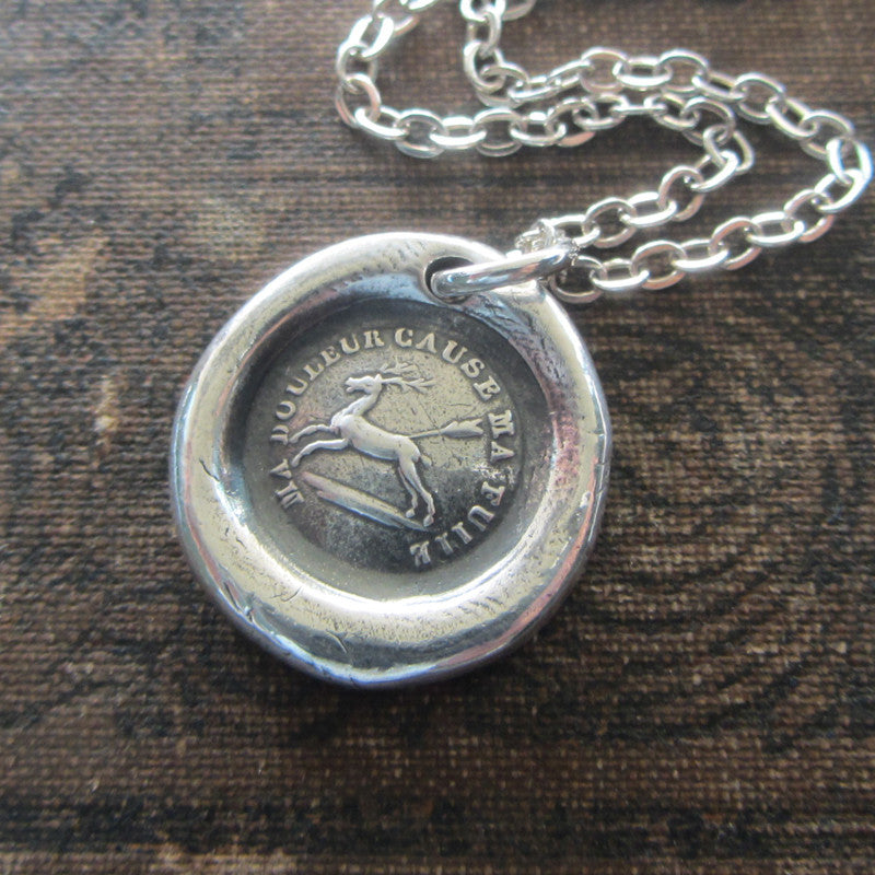 Endure - I Will Go On - French Proverb Wax Seal Necklace - Shannon Westmeyer Jewelry - 1