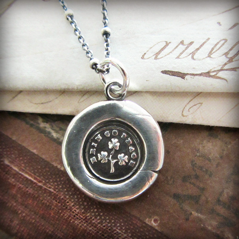 Shamrock Wax Seal Necklace - Erin Go Bragh - Shannon Westmeyer Jewelry - 4
