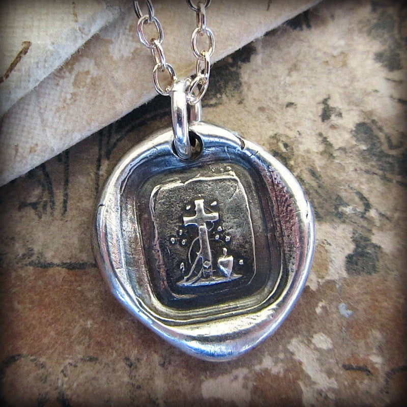 Faith, Hope & Charity - Tiny Cross Wax Seal Necklace