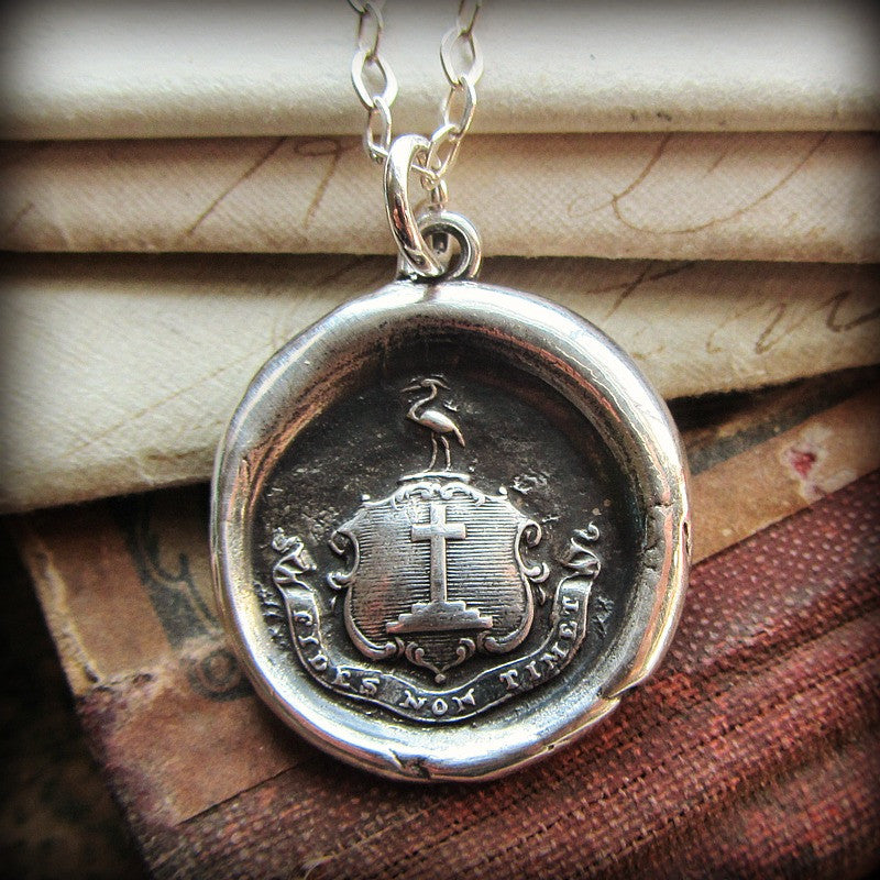 Faith Not Fear Wax Seal Crest Necklace - Let Your Faith Be Bigger Than Your Fear