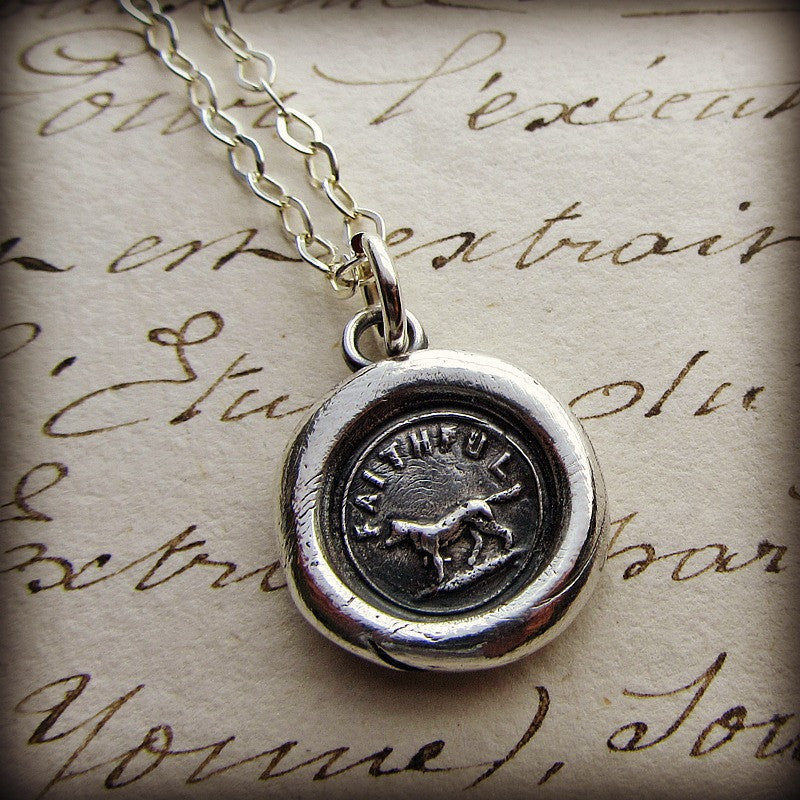 dog mom Sterling Silver dog necklace dog present wax seal charm