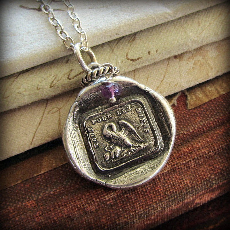 I do it for my family - A Mother's Love Wax Seal Necklace with Personalized Birthstone Circle
