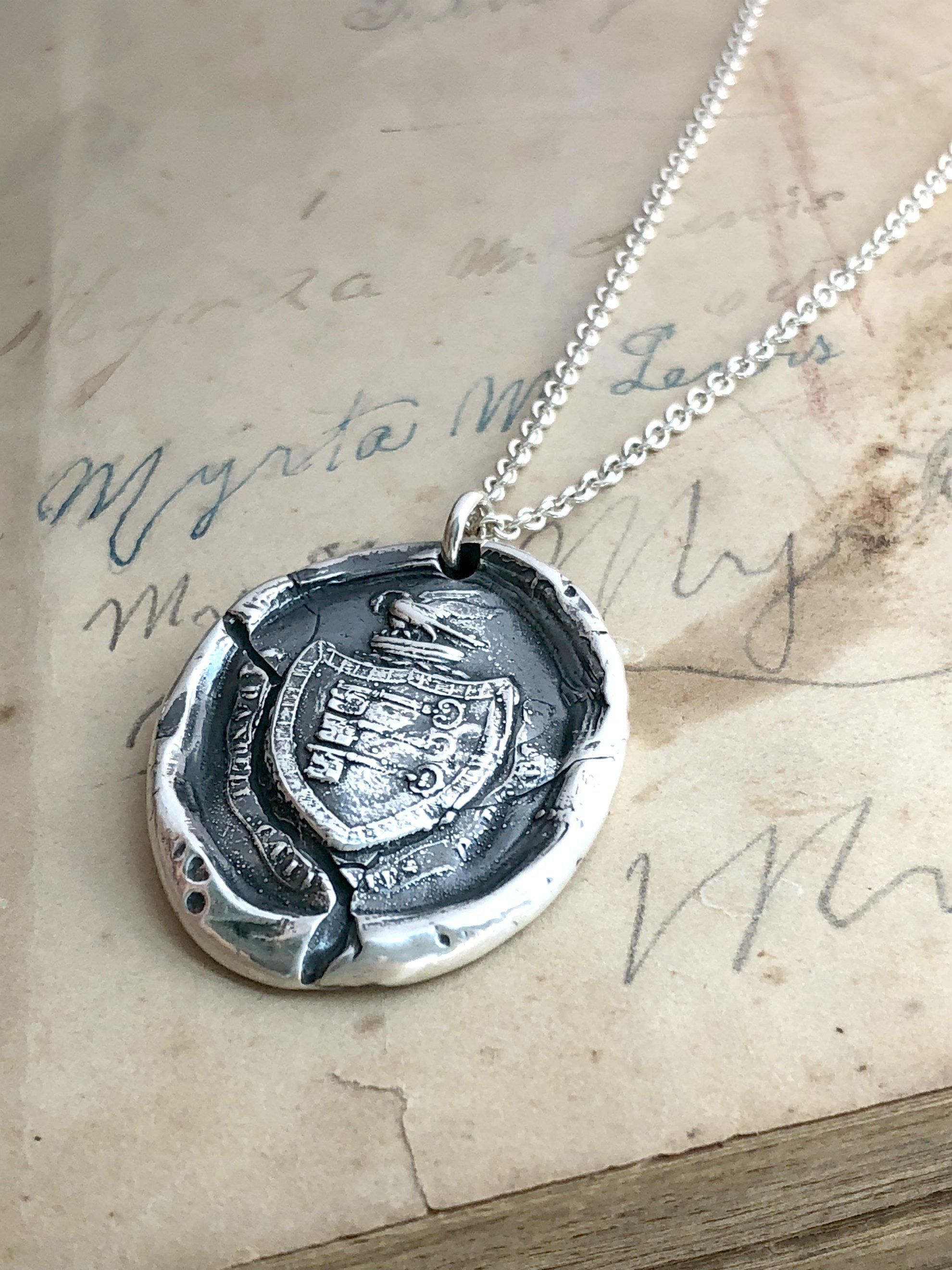 Guardianship Wax Seal Crest Necklace - I Will Protect The Ones I Love-Shannon Westmeyer Jewelry