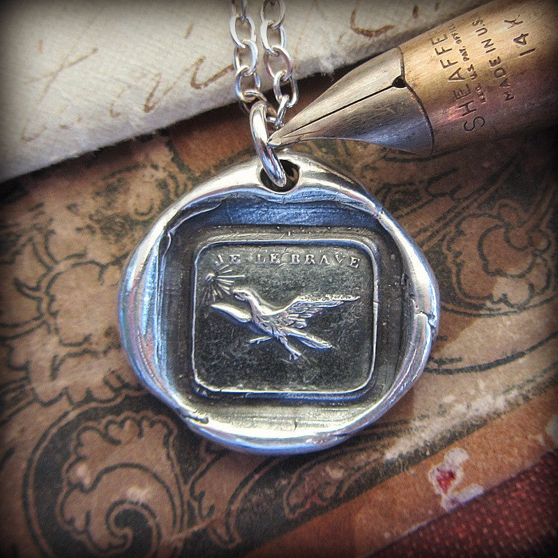 Fearless Wax Seal Charm Pendant
