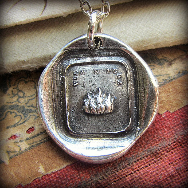 Fire Wax Seal Necklace Pendant - Live with Passion and Purpose