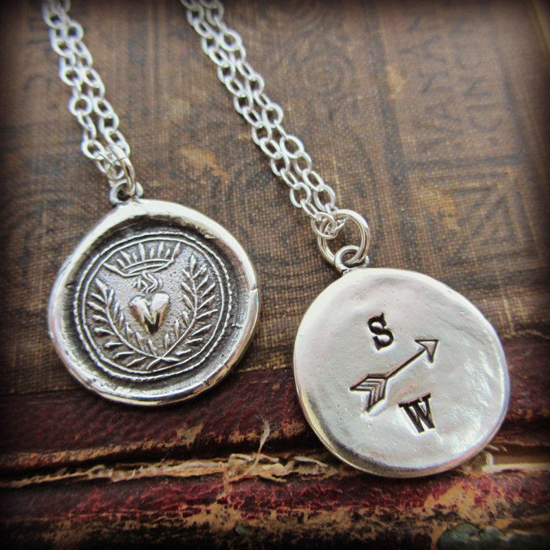 Engraved Flaming Heart Wax Seal Necklace