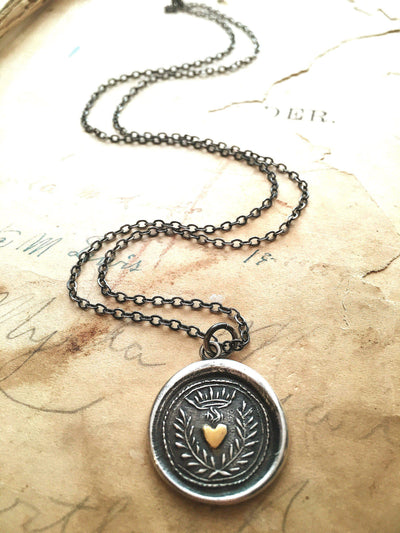 Flaming Gold Heart Wax Seal Necklace - Eternal Love-Shannon Westmeyer Jewelry