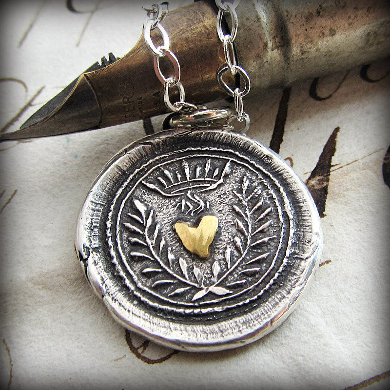Flaming Gold Heart Wax Seal Necklace - Eternal Love