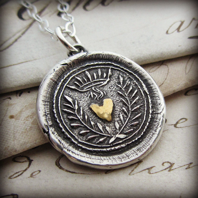 Flaming Gold Heart Wax Seal Necklace - Eternal Love - Shannon Westmeyer Jewelry - 2